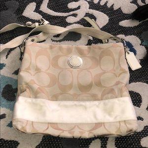 Coach White and cream crossbody purse